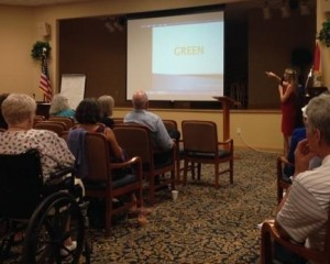 Heidi Crockett presenting red dress CLOSER